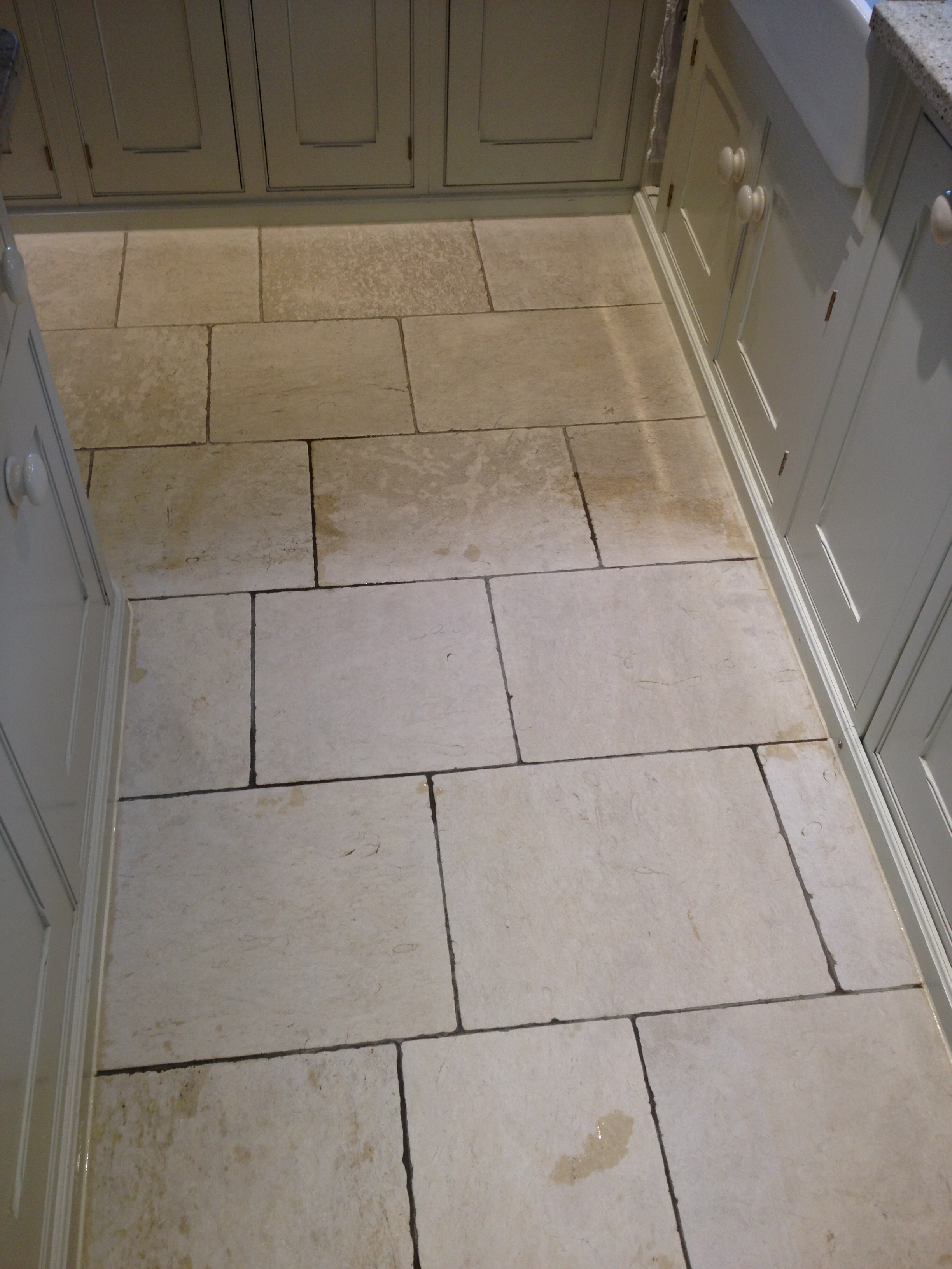 Travertine Tiled Kitchen Ottershaw During Cleaning