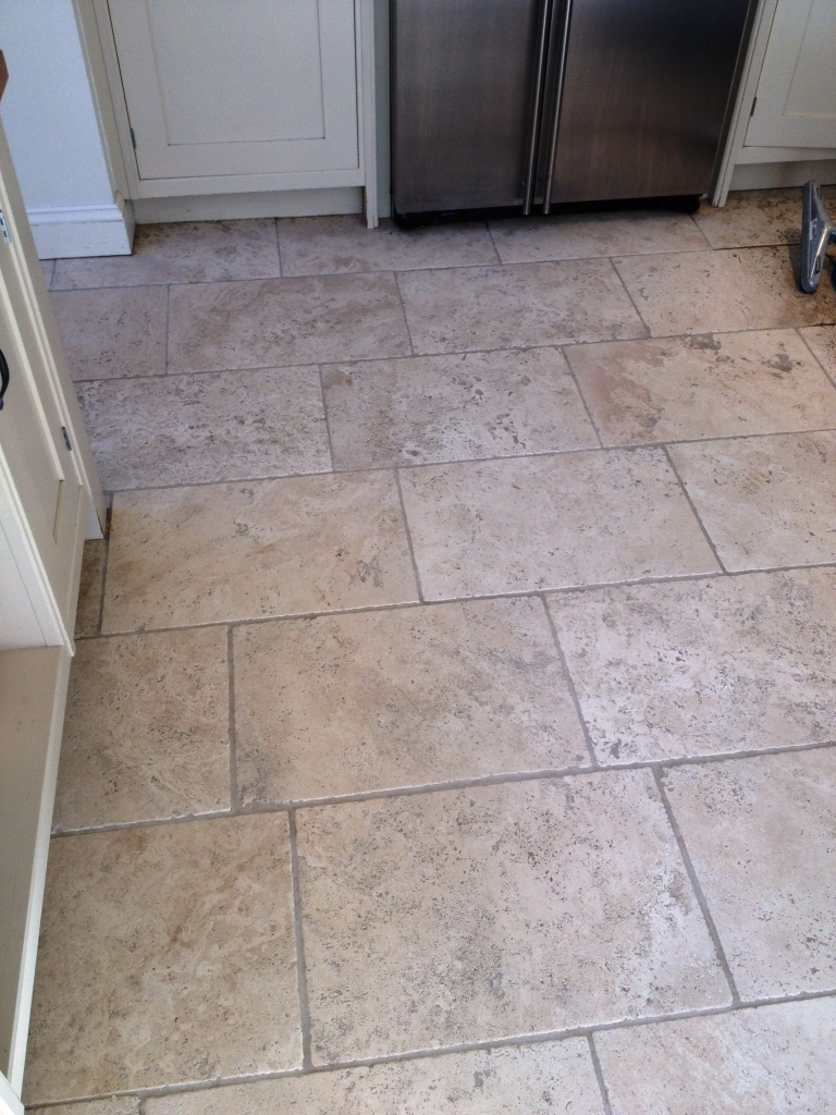 Tumbled Travertine After Cleaning in Teddington