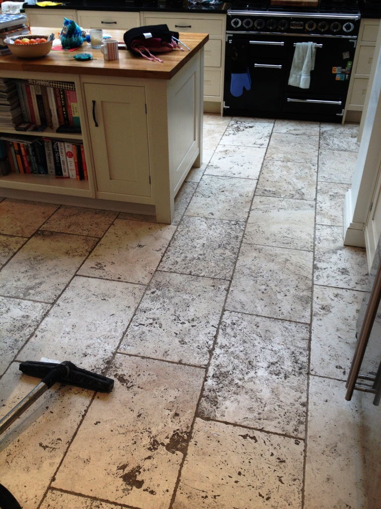 Tumbled Travertine Before Cleaning in Teddington