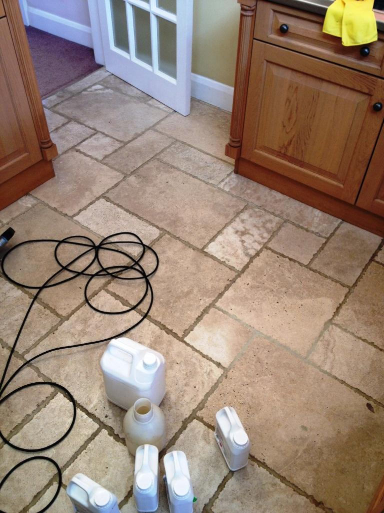 Tumbled Travertine in Twickenham Before Cleaning