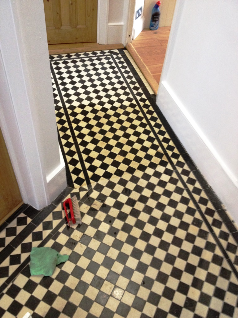 Edwardian tiled floor Richmond before cleaning