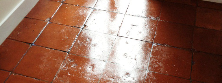 Terracotta Tiled Floor Restored in Shepperton Coach House