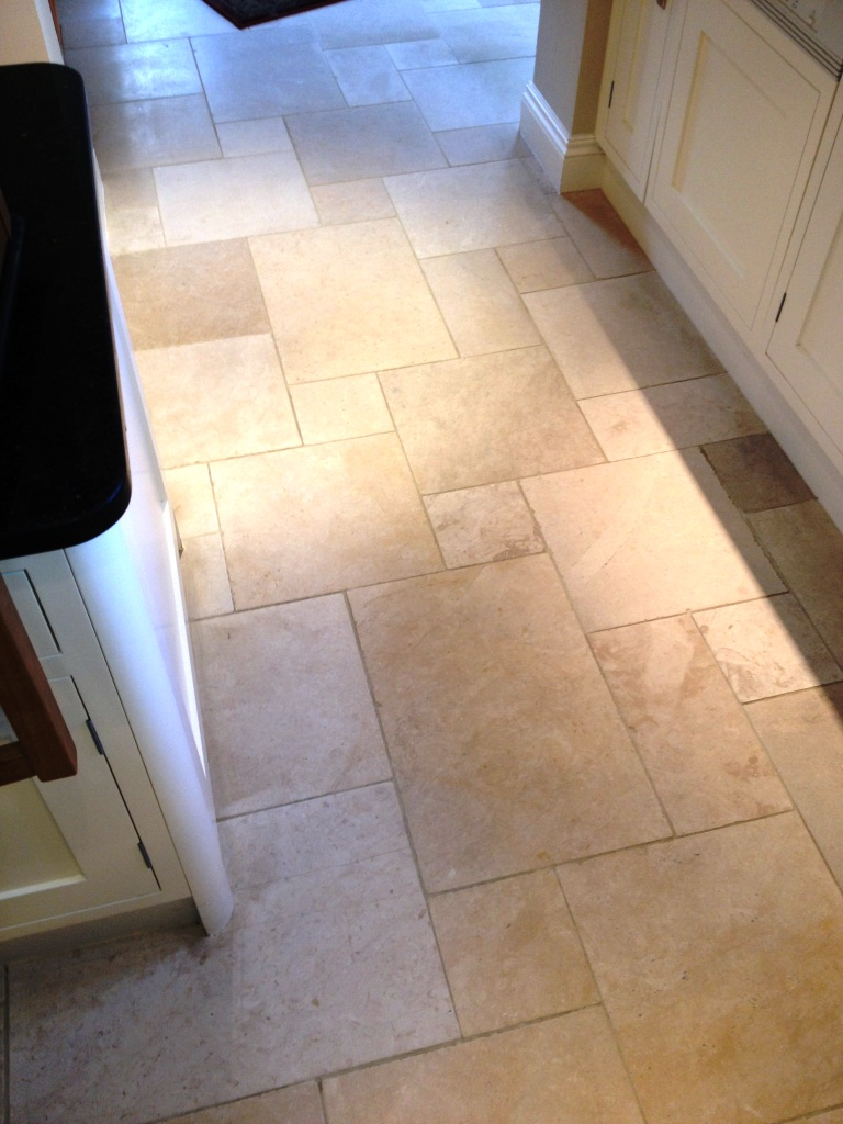 Limestone Kitchen floor cleaned in Hampton After