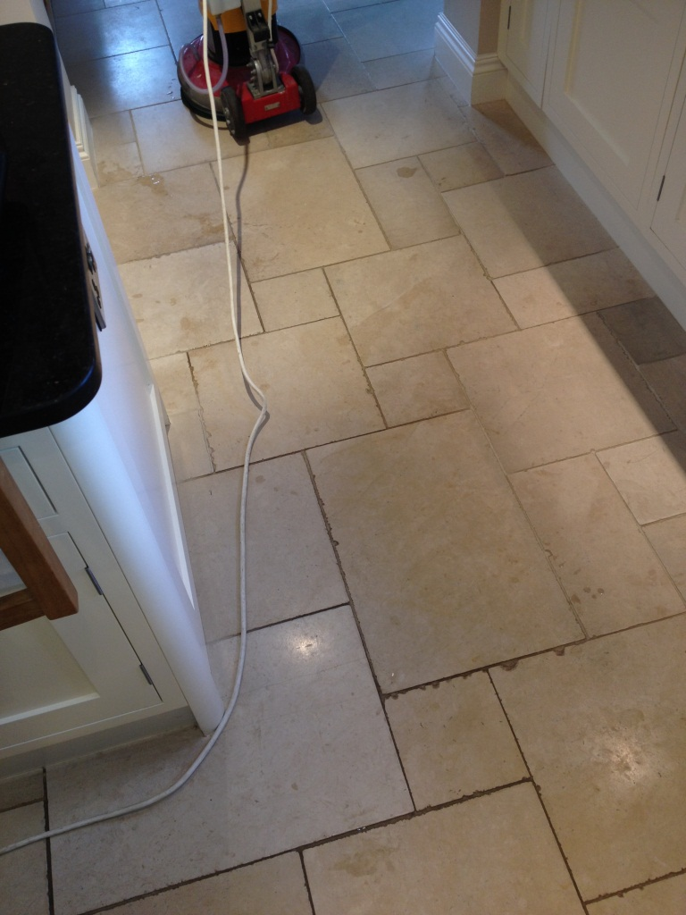 Limestone Kitchen floor cleaned in Hampton Before