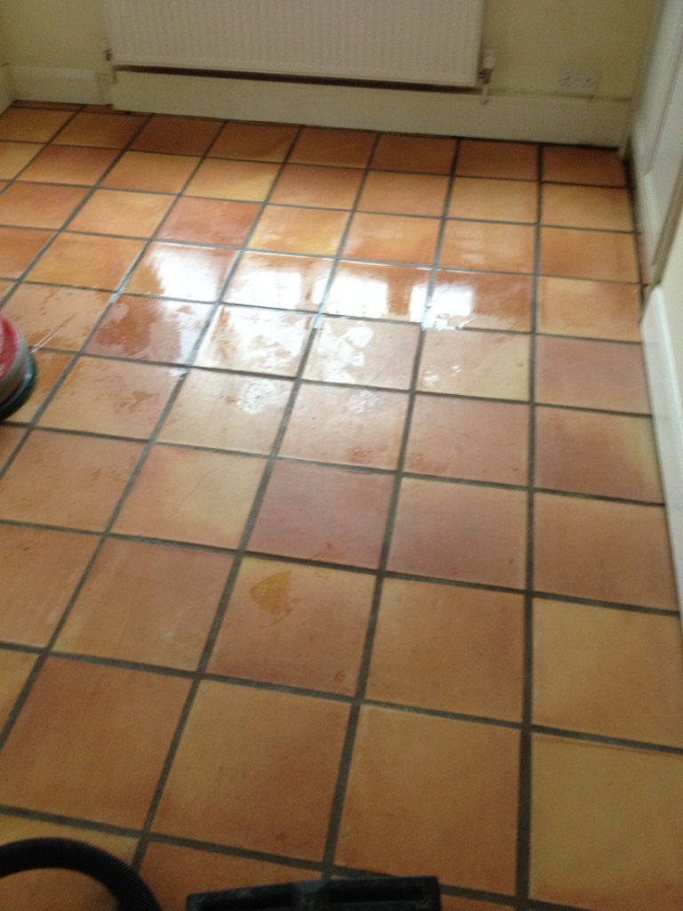 Terracotta Kitchen Floor Twickenham During Cleaning