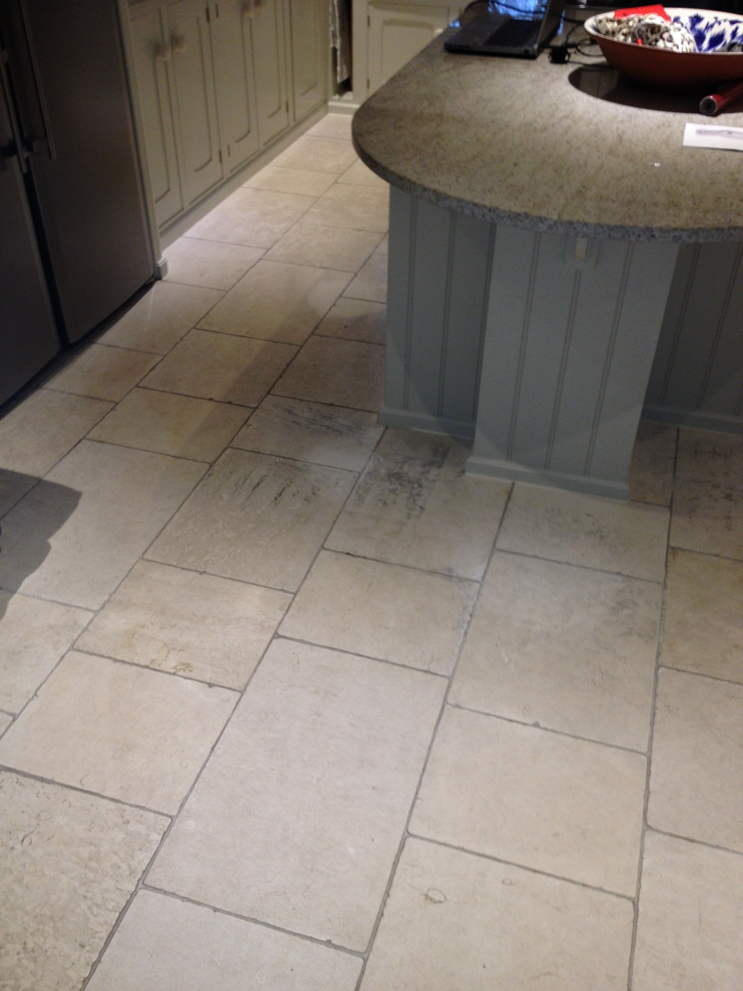 Travertine Tiled Kitchen Ottershaw Before Cleaning