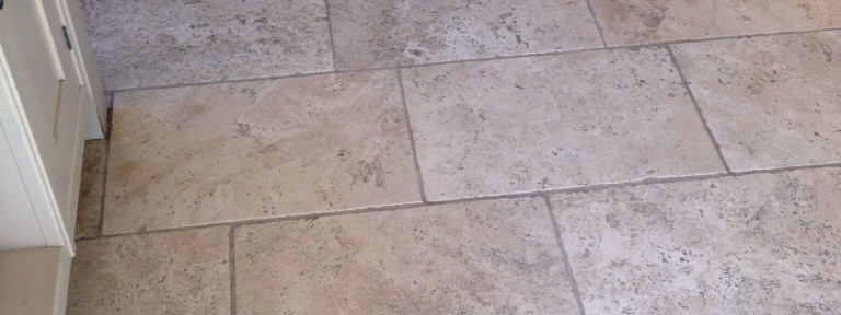 Deep Cleaning Dirty Tumbled Travertine Kitchen Tiles in Teddington