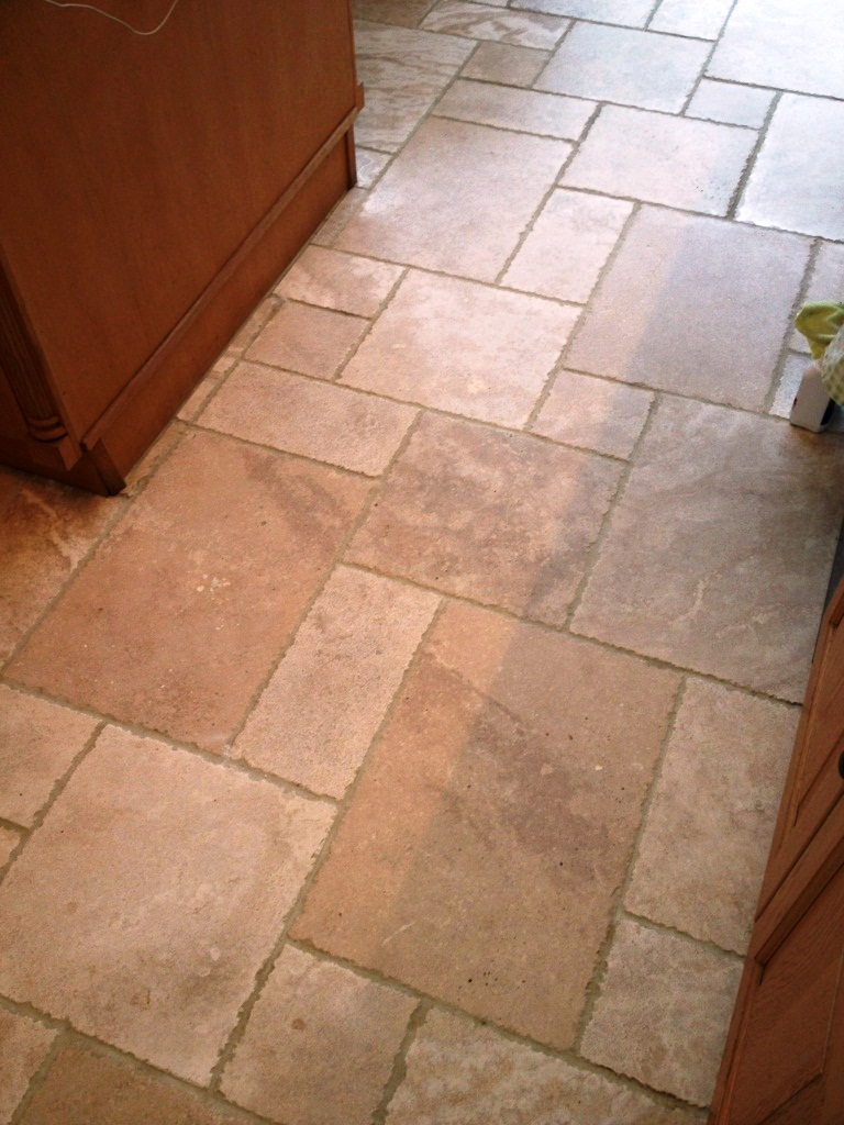 Tumbled Travertine in Twickenham After Cleaning