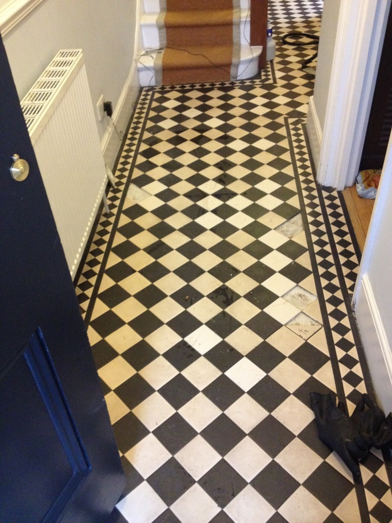 Edwardian style tiled floor twickenham before cleaning