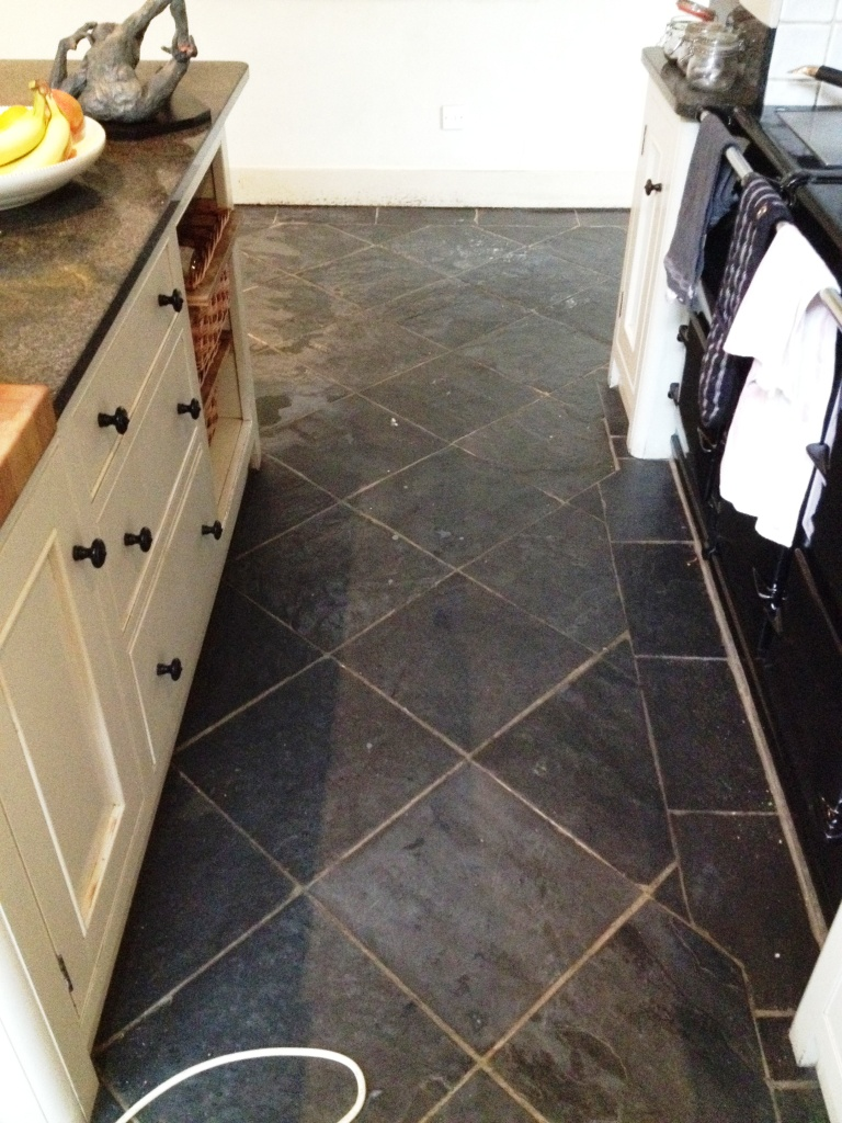 Slate Floor Before Cleaning In Hampton