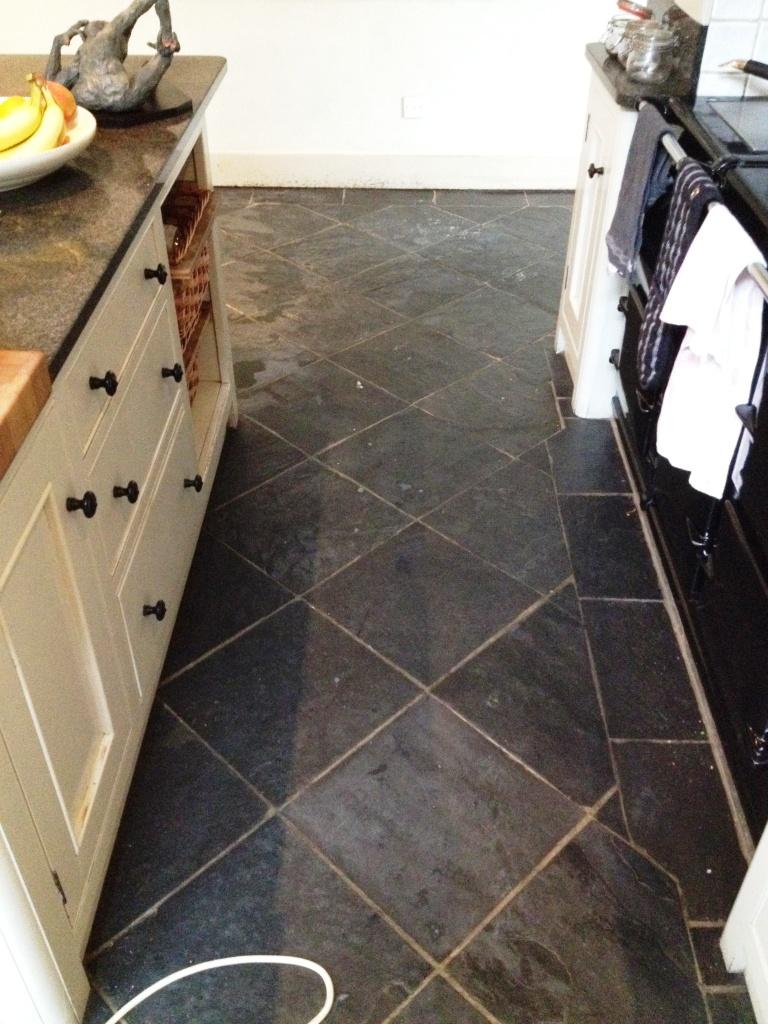 Slate Floor Before Cleaning In Hampton