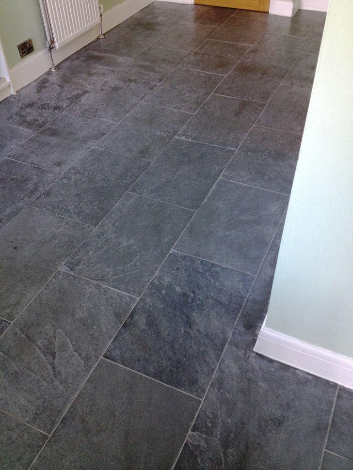 Slate Floor Before Cleaning In Shepperton ...