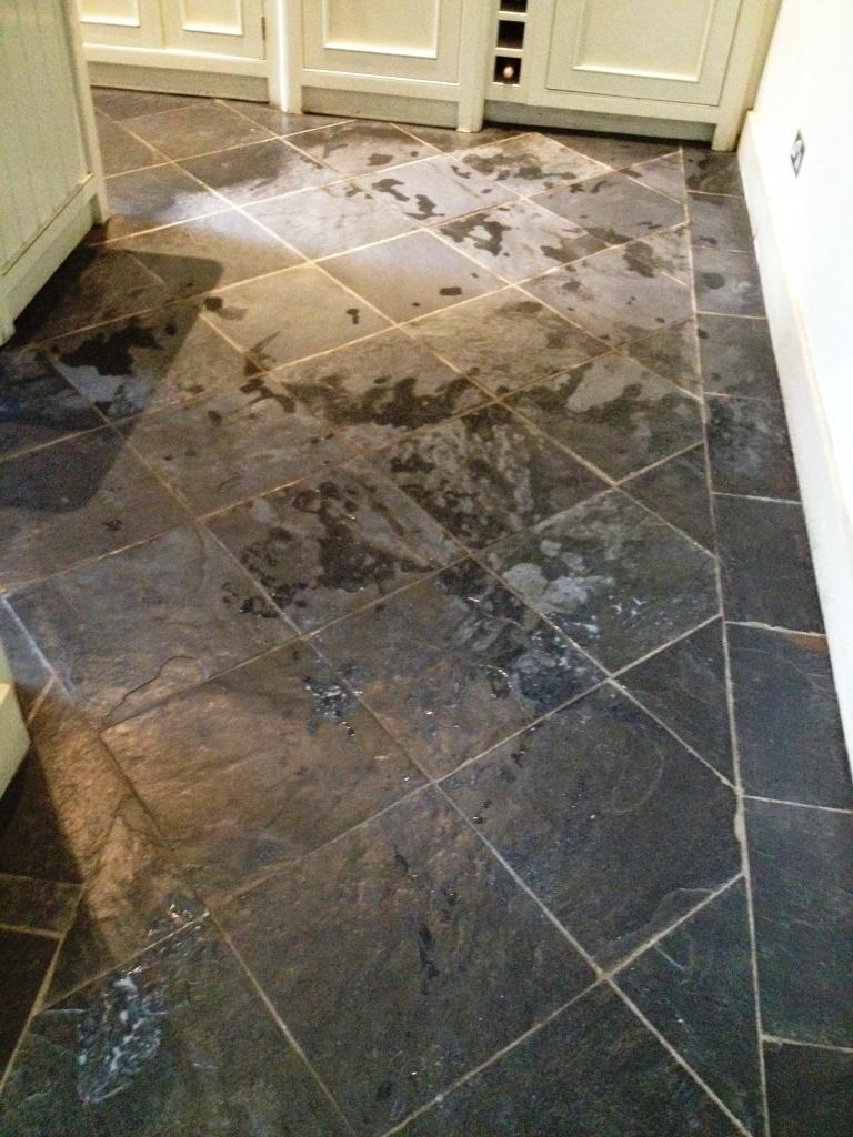 Slate Floor During Cleaning In Hampton