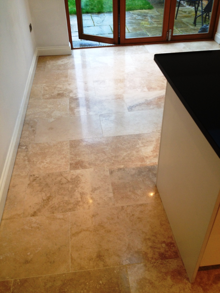 Travertine Floor After Burnishing in Hampton