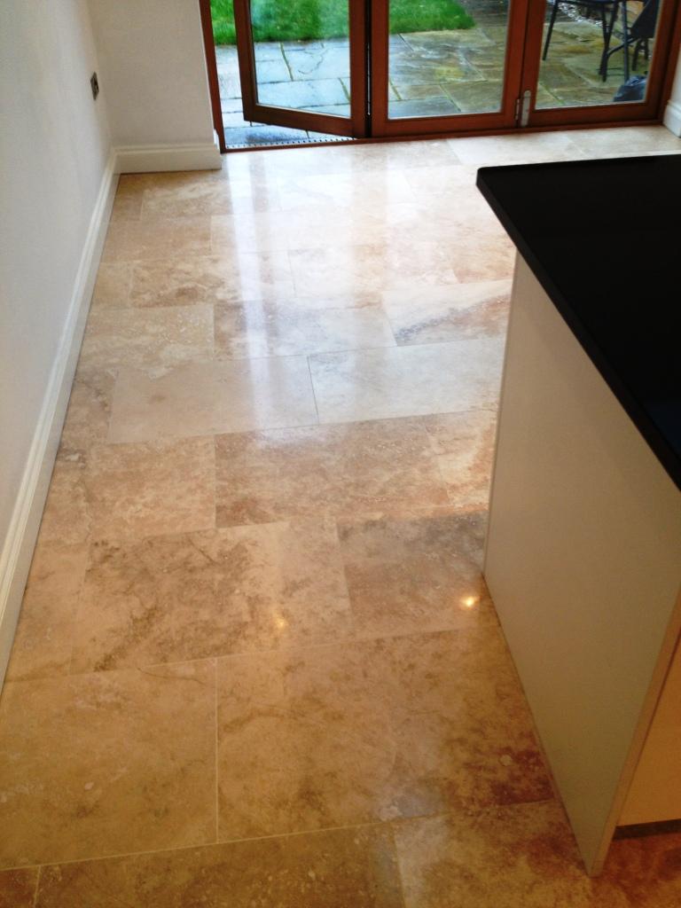 Travertine Floor After Burnishing in Hampton