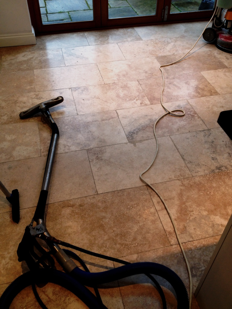 Travertine Floor Before Burnishing in Hampton