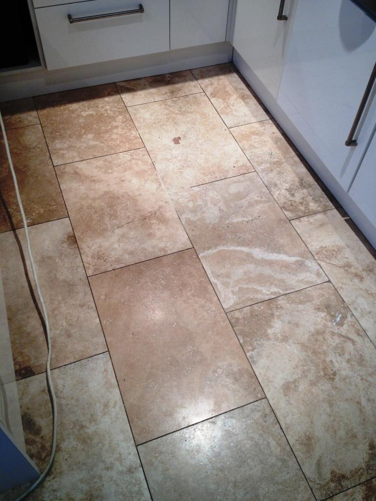 Travertine Floor Before Burnishing in Hampton