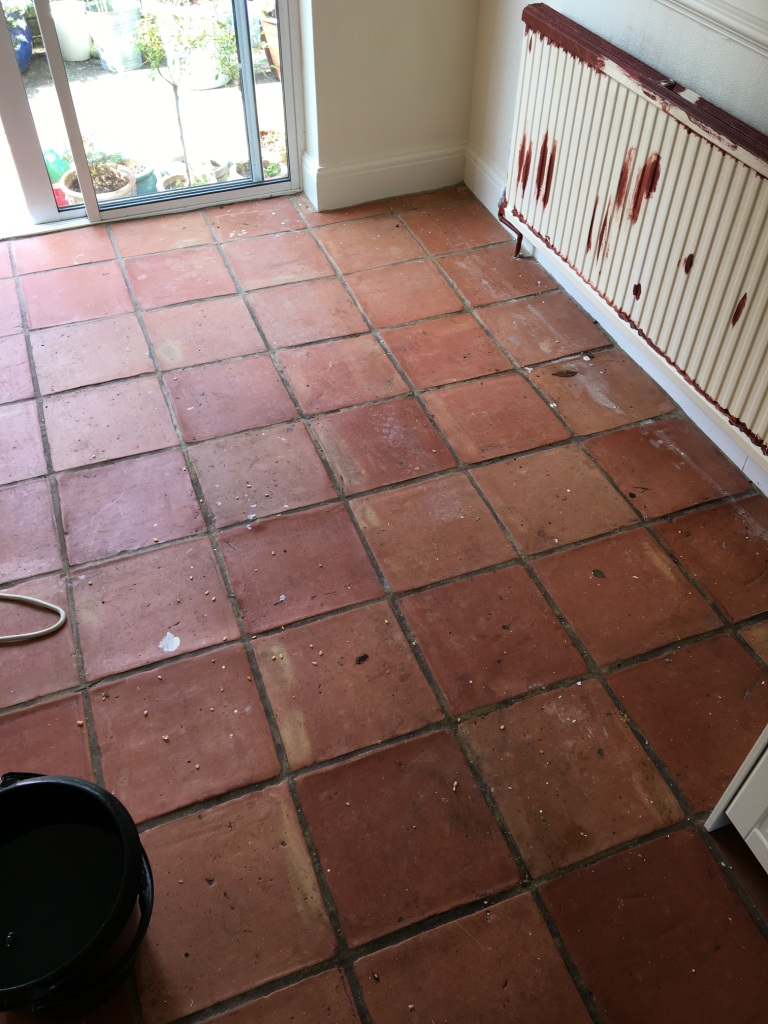 Terracotta Floor Before Deep Clean in Twickenham