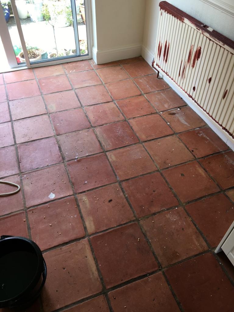 Terracotta Floor Before Deep Clean in Twickenham