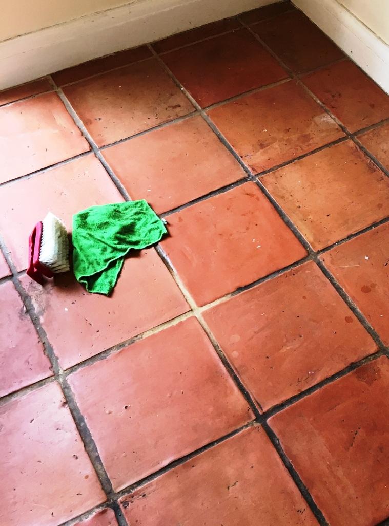 Terracotta Floor Deep Clean During Grout Scrubbing in Twickenham