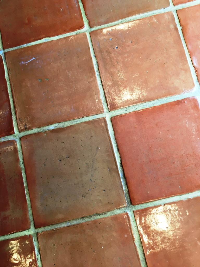 Terracotta Floor Deep Clean after grout scrubbing in Twickenham