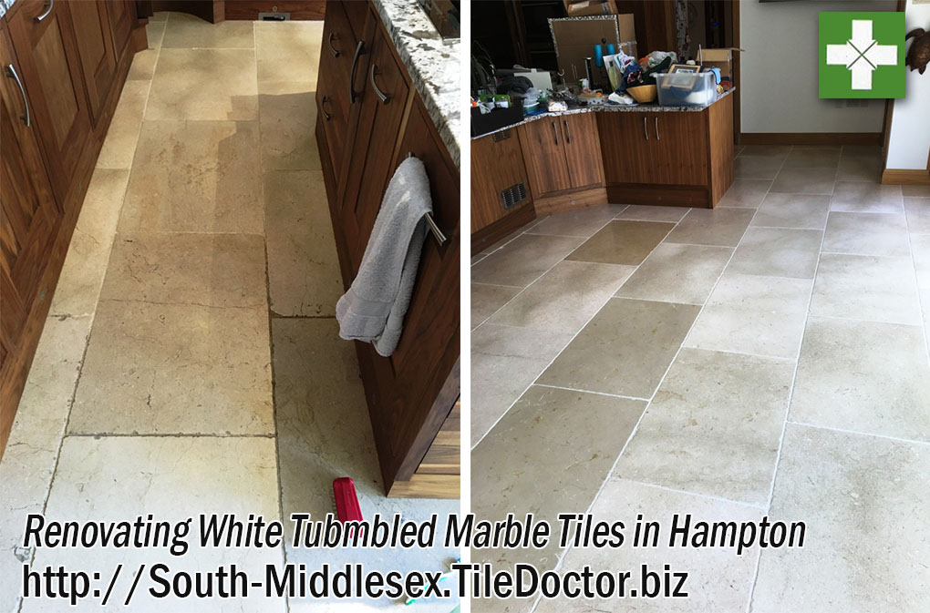 Renovating White Tubmbled Marble Tiles in Hampton