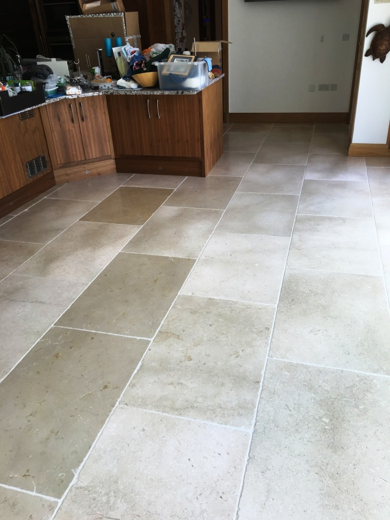 Tumbled Marble floor after cleaning in Hampton Middlesex