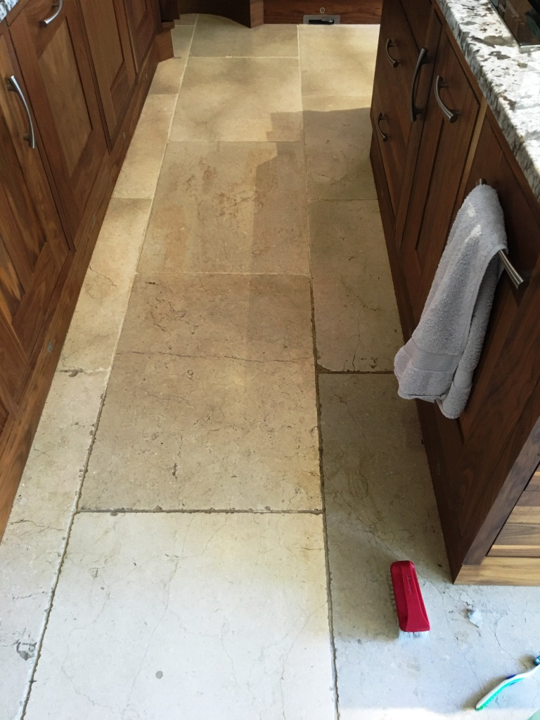 Tumbled Marble floor before cleaning in Hampton Middlesex