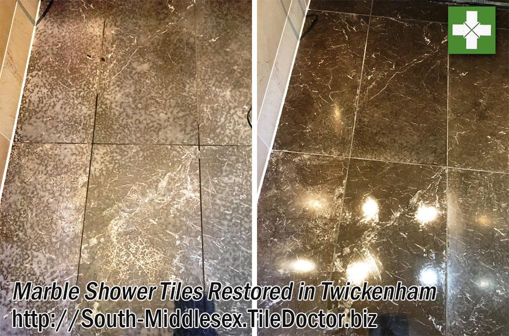 Acid Etched Marble Shower Cubicle Restoration in Twickenham