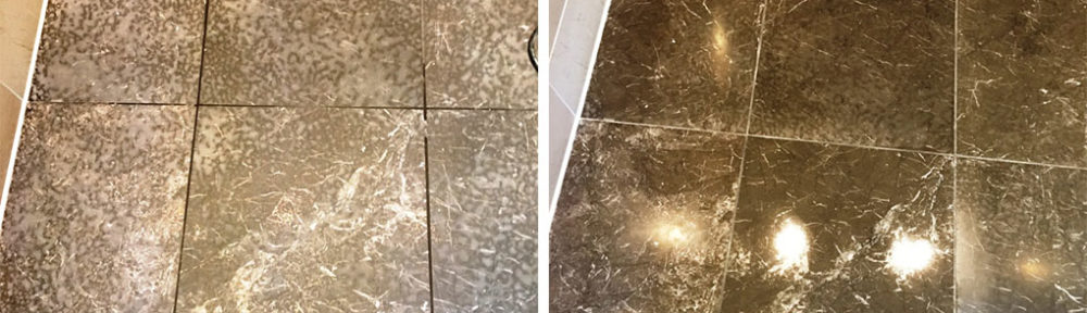 Marble Shower Tiles Restored After Being Etched With Cillit Bang In Twickenham