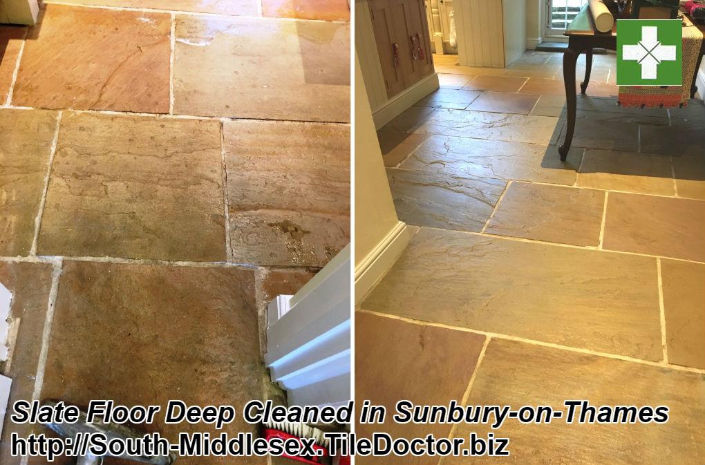 Slate Floor Deep Cleaned in Sunbury-on-Thames