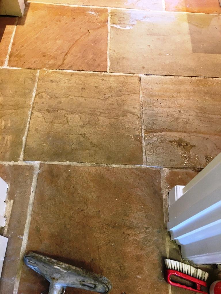 Slate Kitchen floor Before Cleaning Sunbury-on-Thames