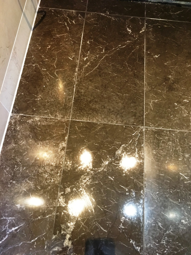 Tiled Marble Shower Floor Before Cleaning Twickenham