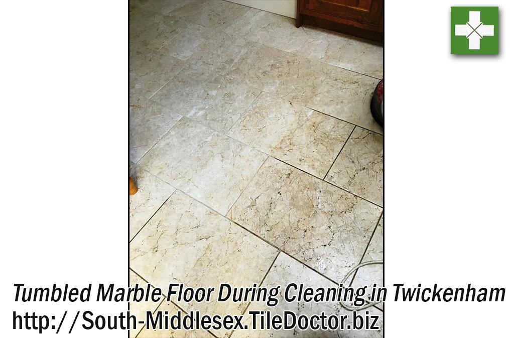 Tumbled Marble Floor Tile Cleaning in Twickenham