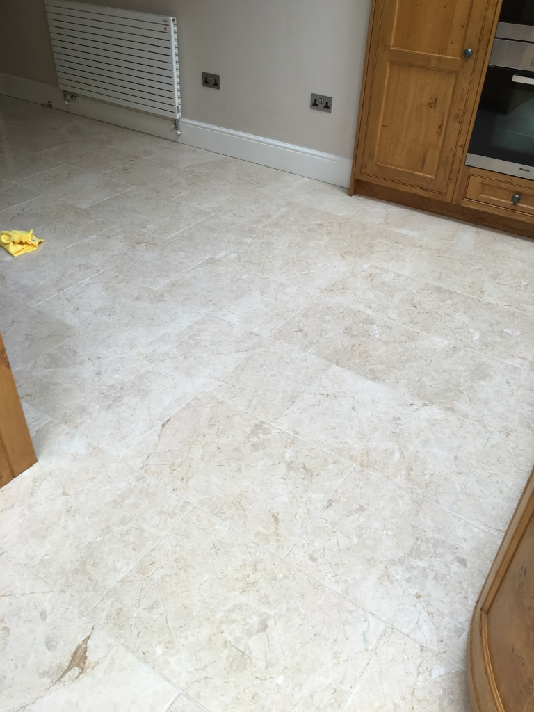 Tumbled Marble floor in Twickenham After Cleaning