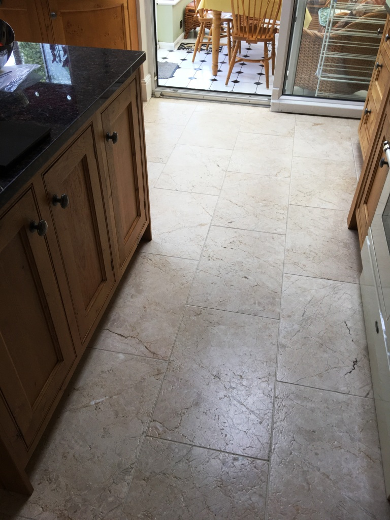 Tumbled Marble Floor Refreshed In Twickenham Stone