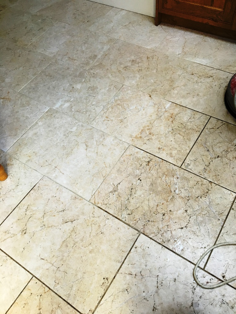 Tumbled Marble floor in Twickenham During Cleaning