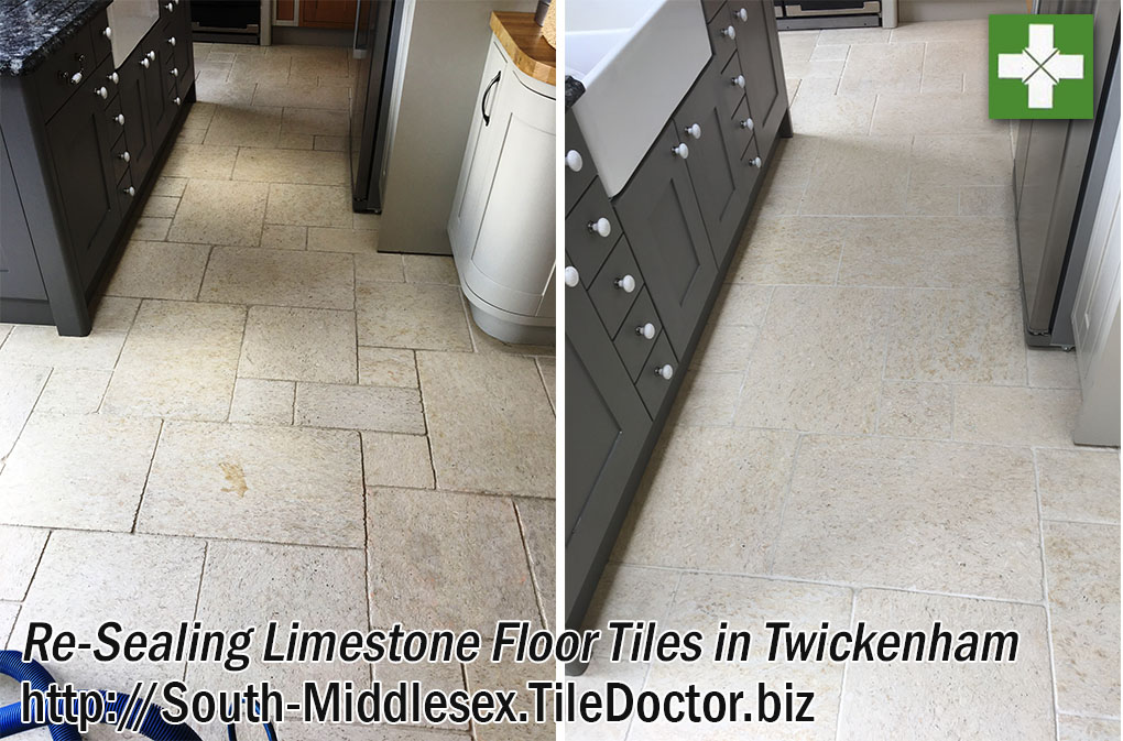 Limestone Kitchen Floor Before and After Cleaning and Sealing in Twickenham