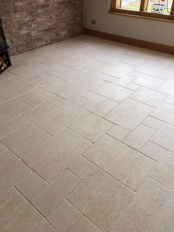 Limestone Tiled Floor After Cleaning Twickenham