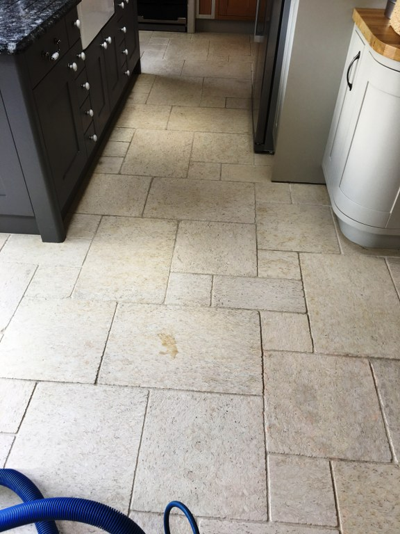 Limestone Tiled Floor Before Cleaning Twickenham