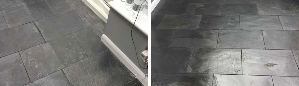 Black Slate Tiled Floor Stained by Decorators in Hampton