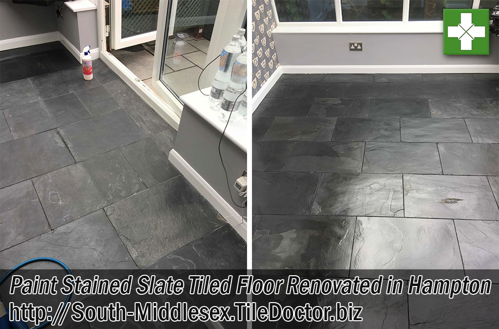 Slate Tiled Floor Before and After Renovation Hampton