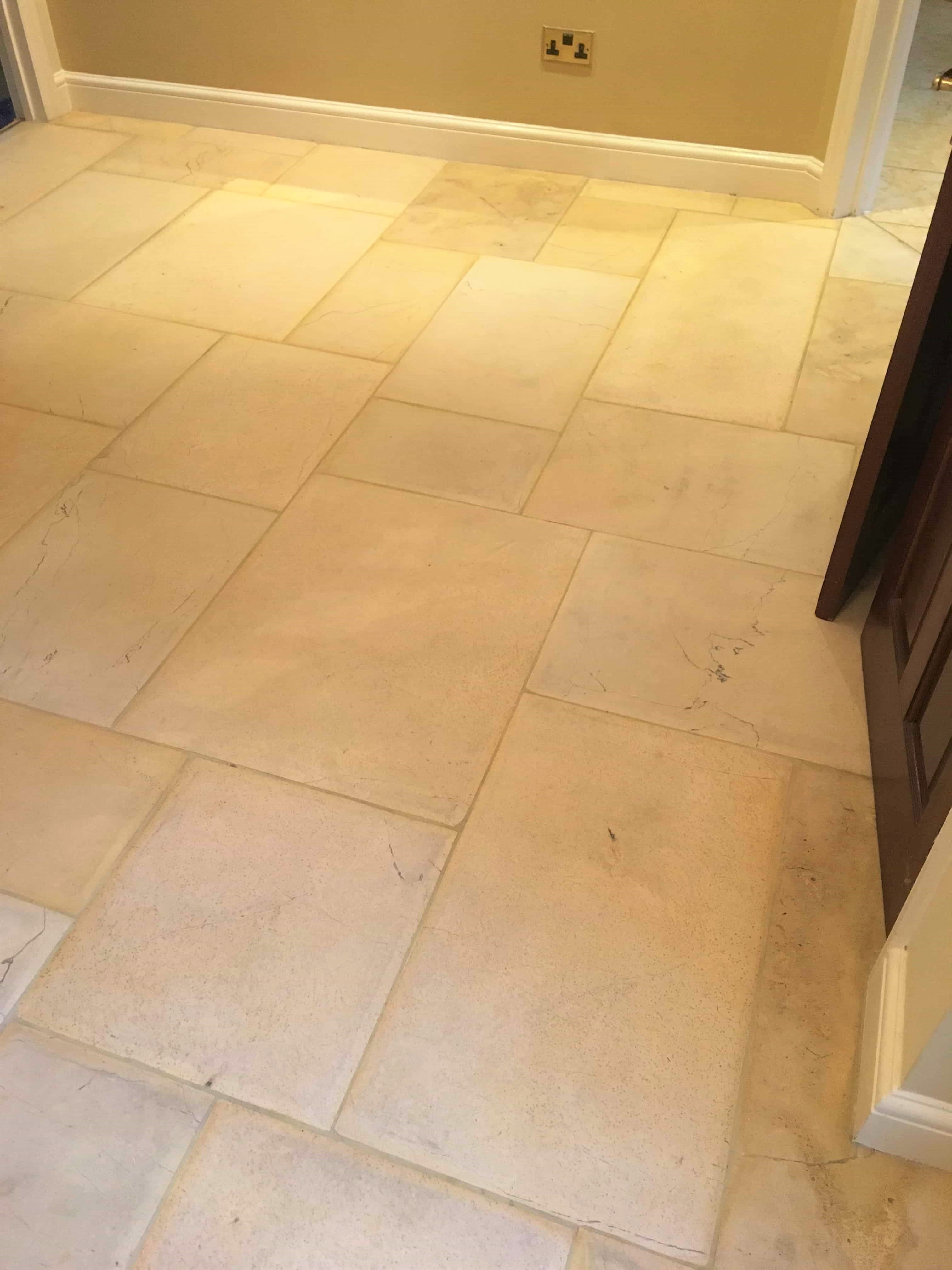 Limestone Tiled Hallway After Cleaning Twickenham