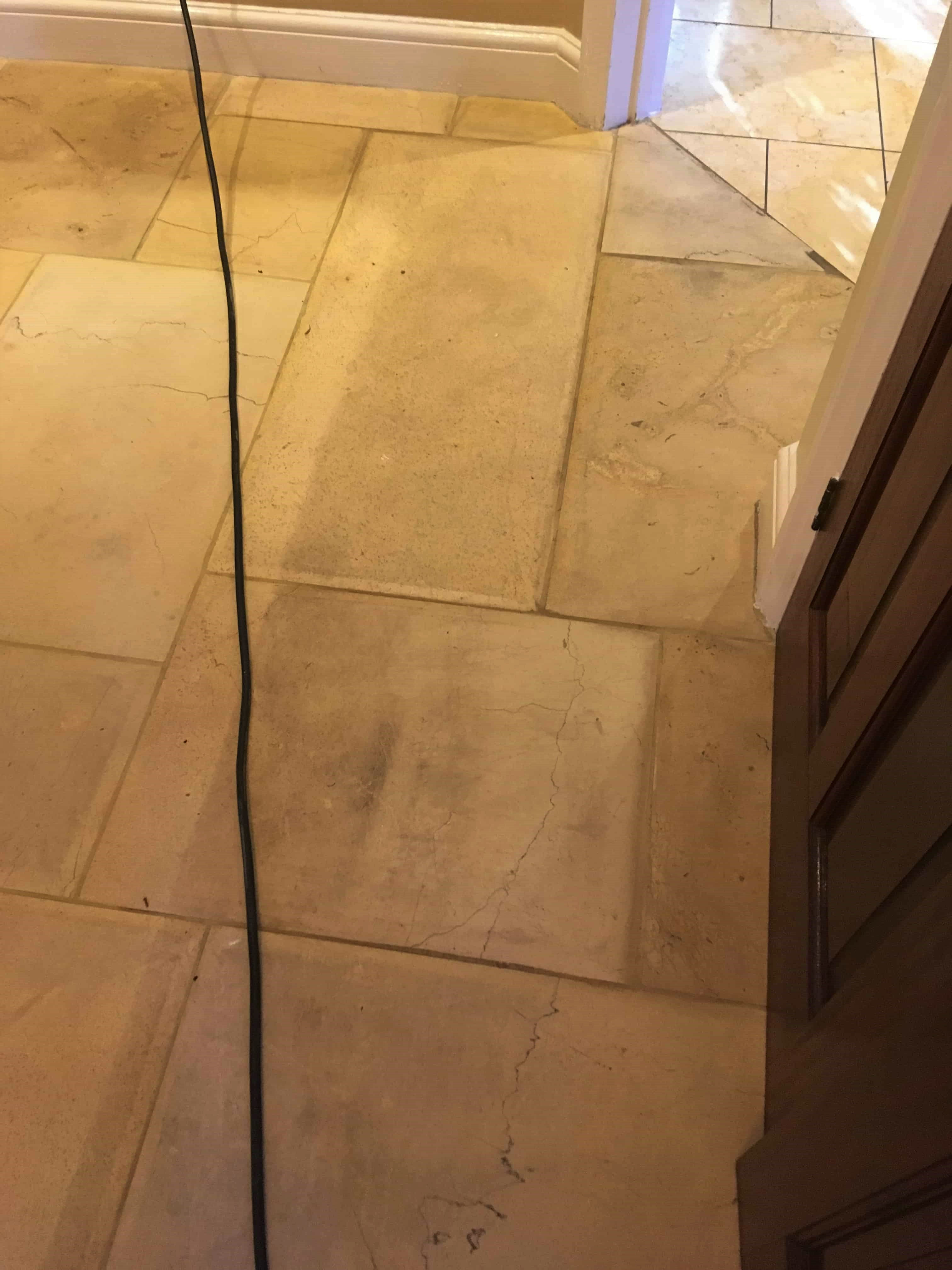 Limestone Tiled Hallway Before Cleaning Twickenham