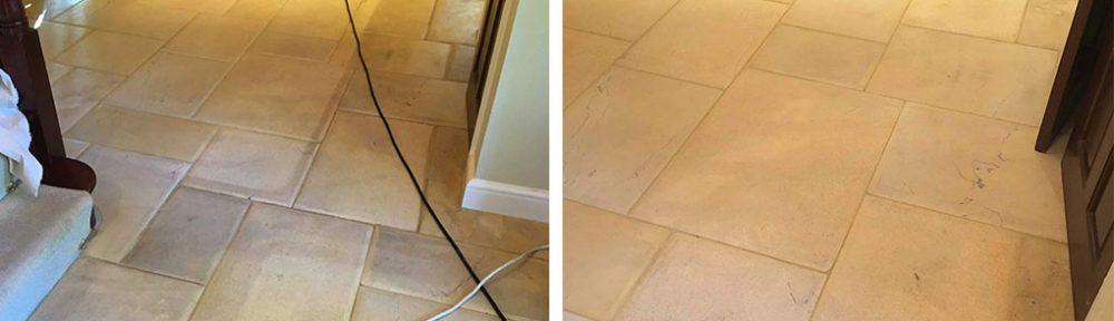 Limestone Tiled Hallway Floor Before After Cleaning Twickenham