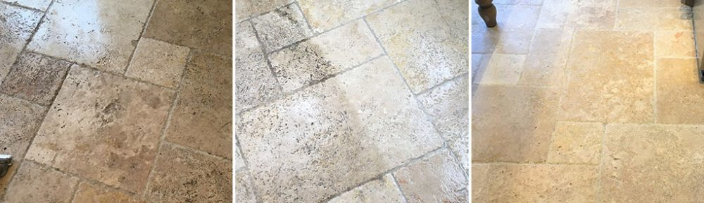 Travertine Tiled Kitchen Floor Before After Cleaning Shepperton