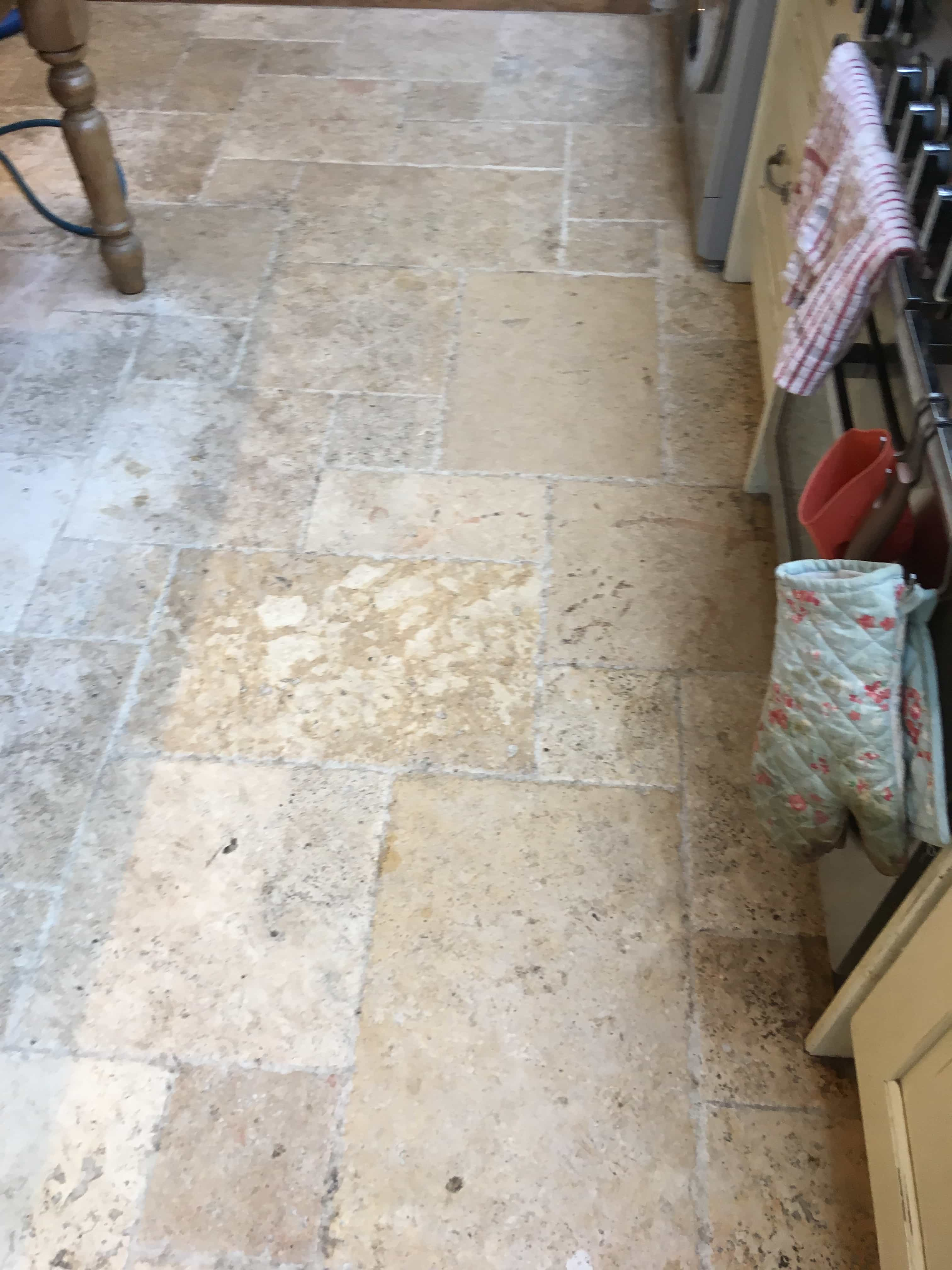Travertine Tiled Kitchen Floor Before Cleaning Shepperton