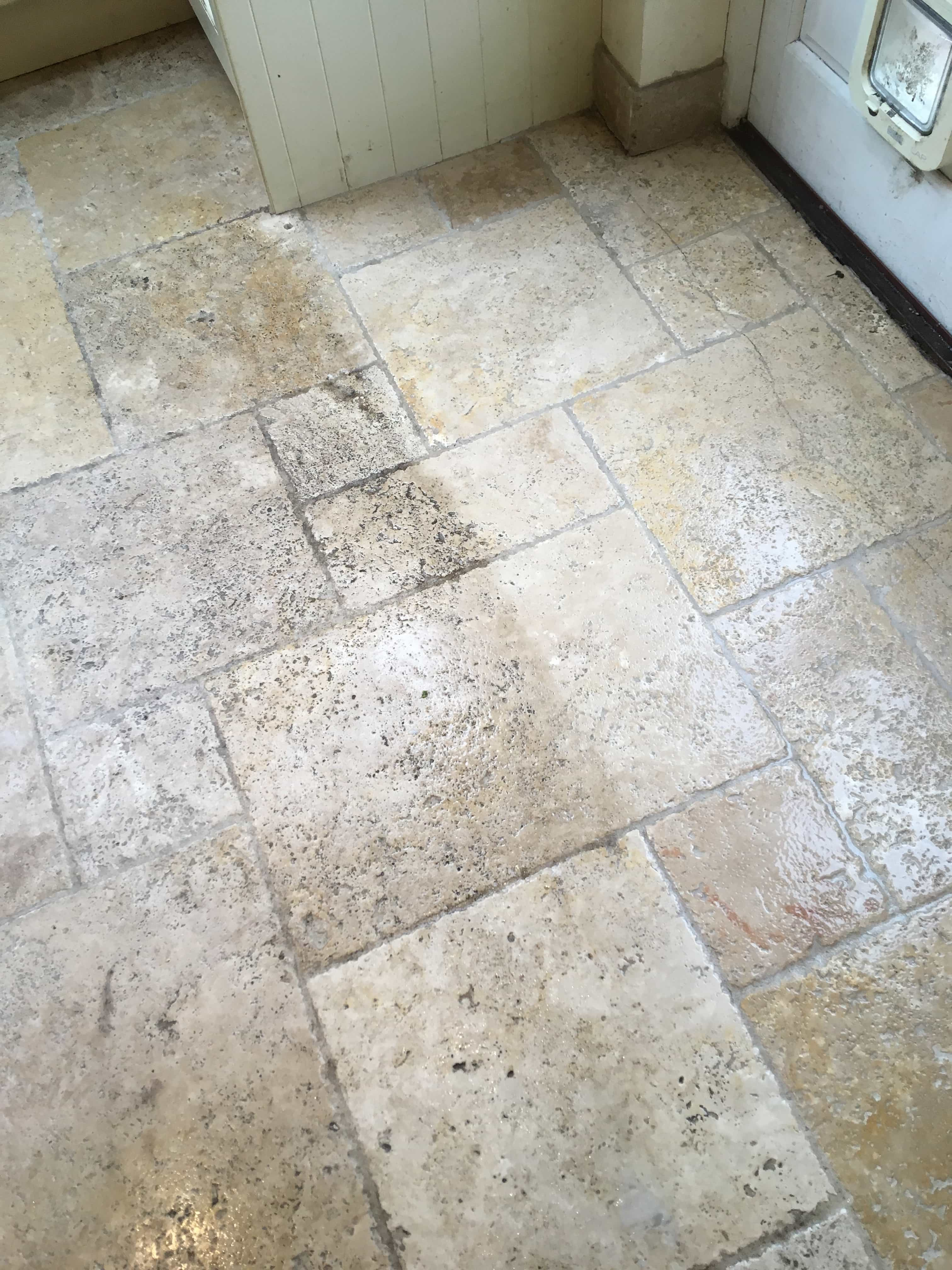 Travertine Tiled Kitchen Floor During Cleaning Shepperton