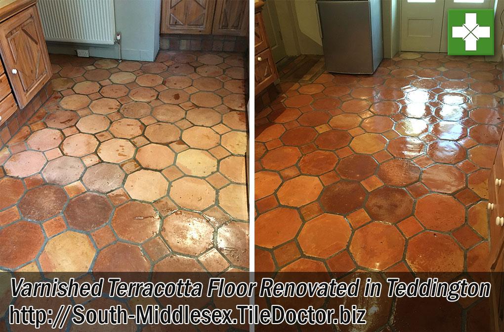 Varnished Terracotta Tiled Floor Grout Before After Renovation Teddington