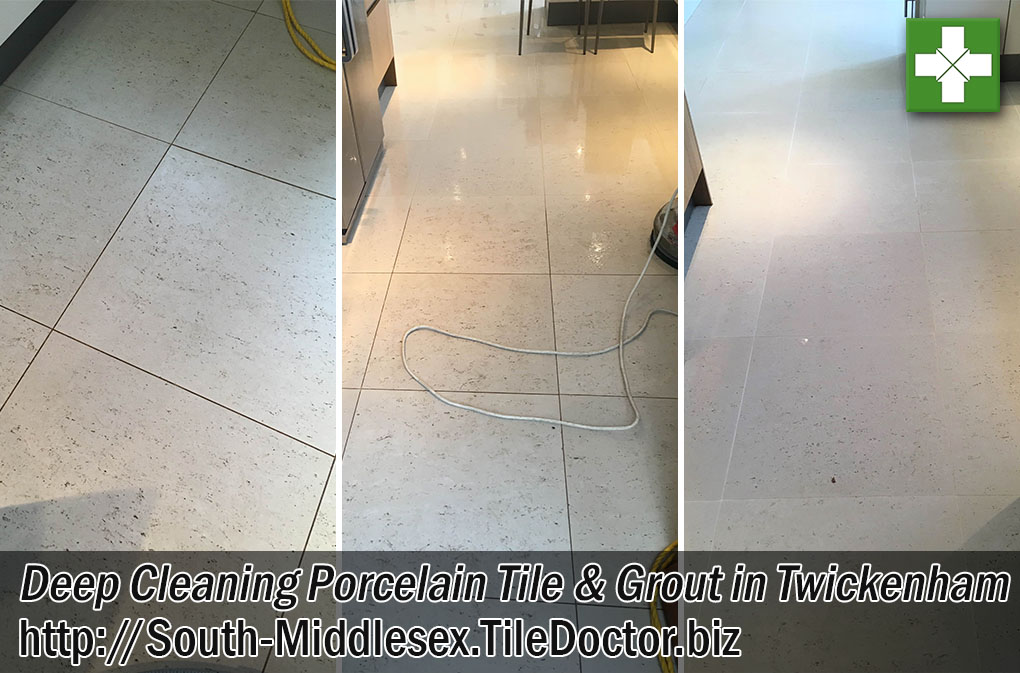 Porcelain Tiled Kitchen Floor Before and After Cleaning Twickenham